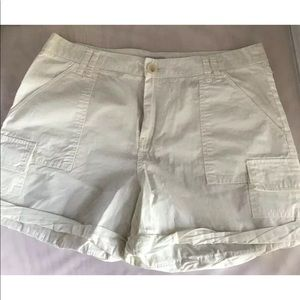 JOIE Cotton Cargo Shorts Off-White Sz 10 NWT